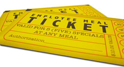 Custom Employee Meal Ticket Design