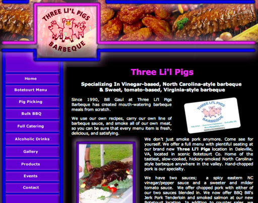 Three Lil Pigs BBQ - Previous Website Design