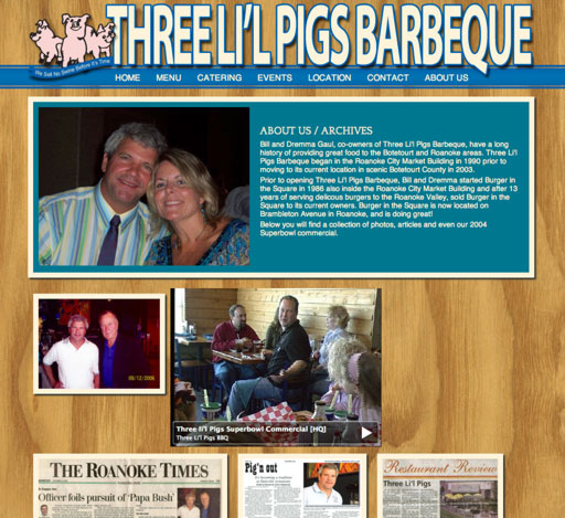 Three Lil Pigs BBQ Website Design