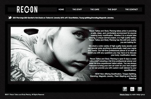 Recon Tattoo Website Design | Vaden Design Roanoke VA